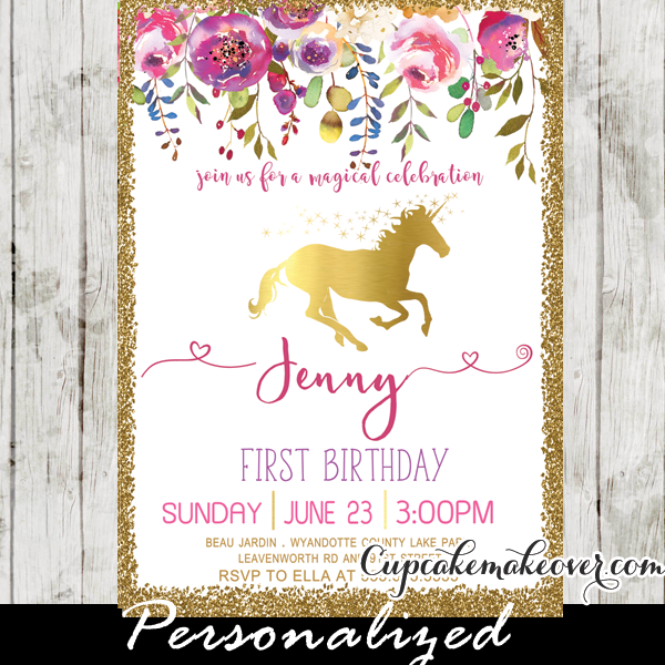 Unicorn Party Invitations Printable Pink Gold Floral First - 1st birthday invitations gold and pink