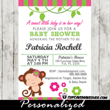 pink and green mod monkey baby shower invitations for girl