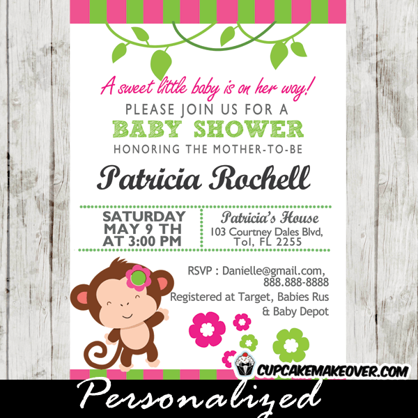 Pink And Green Mod Monkey Baby Shower Invitations Cupcakemakeover