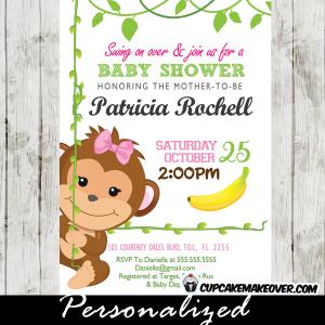 monkey baby shower invitations for girl pink green swing