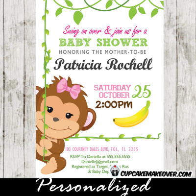 monkey baby shower invitations for girl pink green swing
