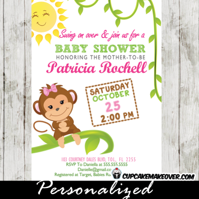 sunshine monkey baby shower invitations for girl pink green vines