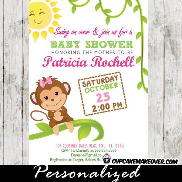 Monkey Baby Shower Invitations Happy Sunshine Cupcakemakeover