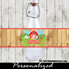 farm birthday supplies party barnyard water bottle labels