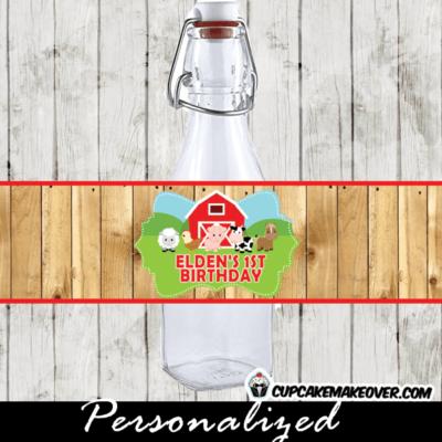 farm birthday supplies party barnyard water bottle labels