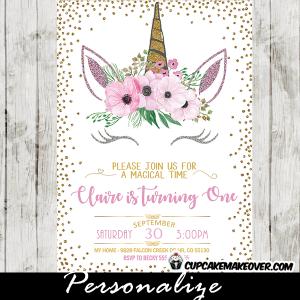 unicorn party invitations printable pink flroal gold glitter diy girl