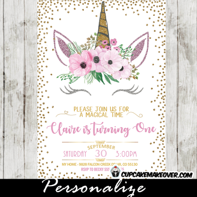 unicorn party invitations printable pink flroal gold glitter diy girl