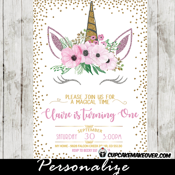 Unicorn Party Invitations Printable Pink Floral Gold