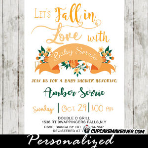 green and peach floral fall baby shower invitations