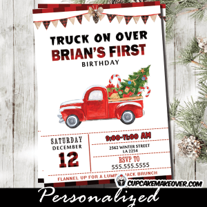 vintage red truck birthday invitations Christmas buffalo plaid first holiday party invites boy