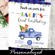 vintage blue truck birthday invitations Christmas buffalo plaid first holiday party invites boy