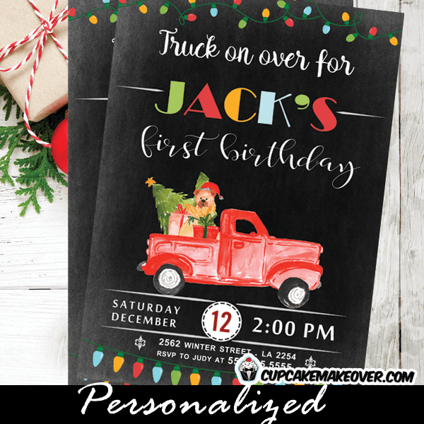 chalkboard vintage red truck birthday invitations christmas buffalo plaid first holiday party invites boy - Birthday On Christmas