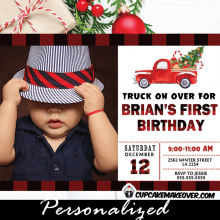 buffalo plaid vintage red pickup truck photo birthday invitations holiday Christmas boy winter first invite