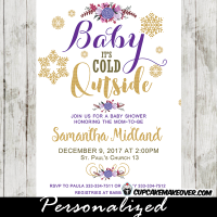 purple violet baby i's cold outside winter wonderland baby shower invitations girl gold snowflakes