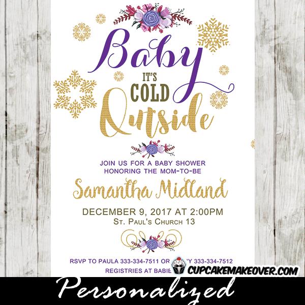 Winter Baby Shower Invitations Purple