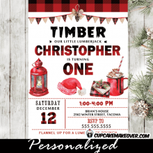 winter onederland first birthday invitations christmas holiday invites boy buffalo plaid