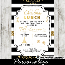 Christmas lunch invitations elegant ideas black white stripes gold