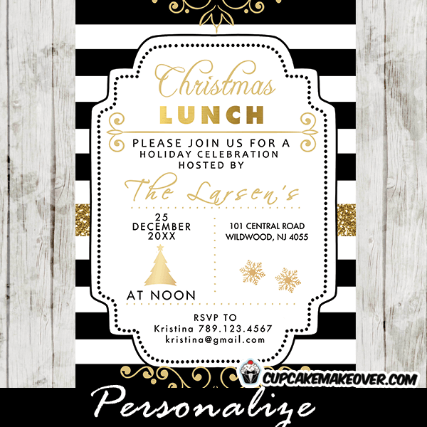Christmas Lunch Invitations, Gold Black and White ...