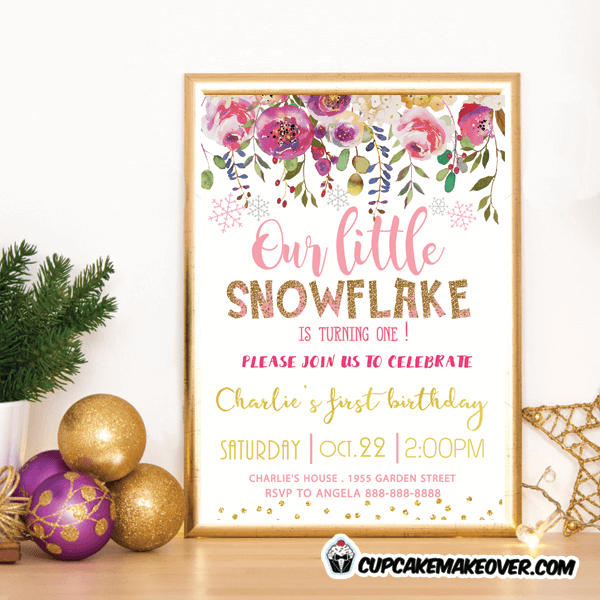 Pink snowflake birthday invitations floral gold cupcakemakeover pink snowflake birthday invitations floral gold girl modern invites filmwisefo