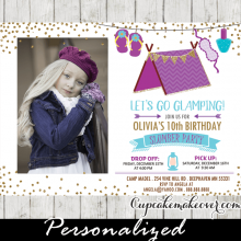 sleepover birthday invites gold purple teal photo slumber party invitations pajama girls kids ideas