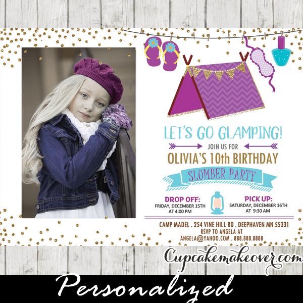 Sleepover Birthday Invites Gold Purple Teal Photo Slumber Party Invitations Pajama Girls Kids Ideas