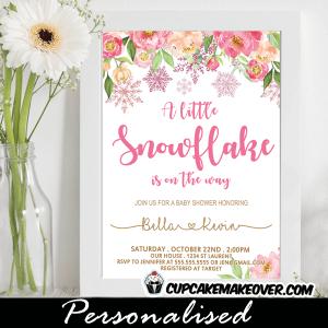 floral pink snowflake baby shower invitations girl winter wonderland theme