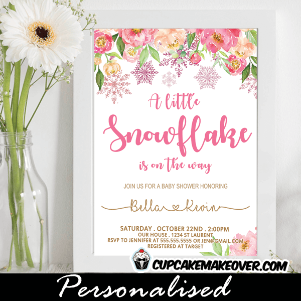 Floral Pink Snowflake Baby Shower Invitations Cupcakemakeover