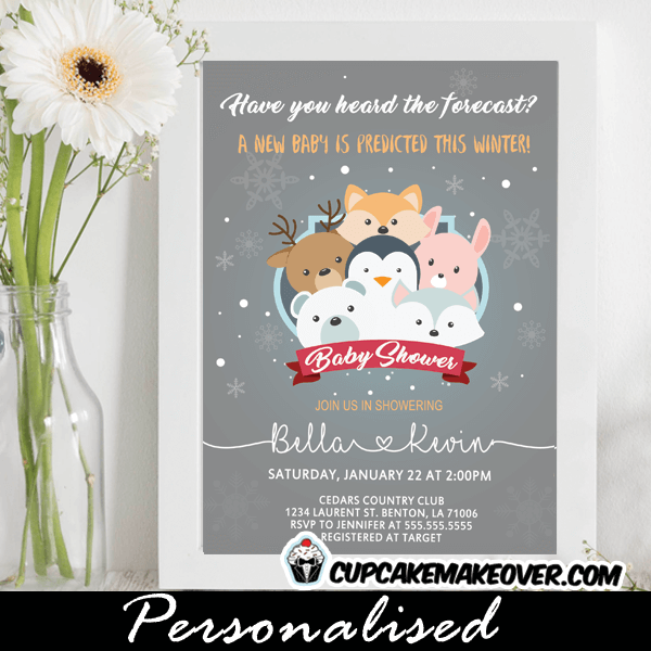 winter woodland baby shower invitations new baby prediction wonderland snow forest animals