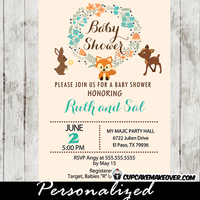 woodland creatures baby shower invitations forest critters boy