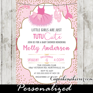 tutu baby shower invitations pink and gold glitter girl ballerina printable