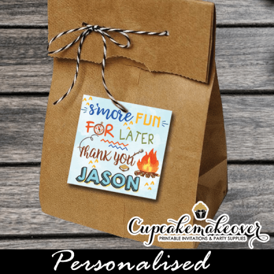 personalized gift labels favor tags backyard camping blue tent camp out boys