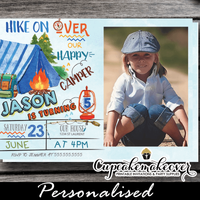 boys outdoor backyard campout camping party invites blue tent camp birthday photo invitations