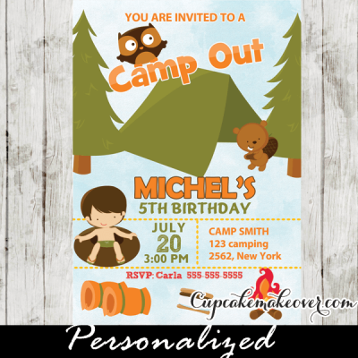 camp out party invitations boys backyard camping birthday outdoor