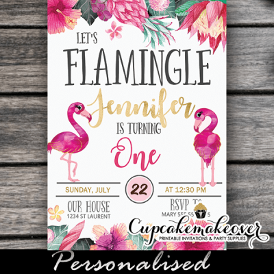 let's flamingle invitations pink flamingo birthday tropical flowers luau