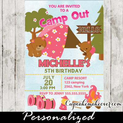 backyard camping birthday outdoor camp out party invitations girls pink