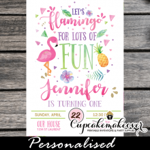 pink flamingo pineapple invitations tropical party ideas first birthday