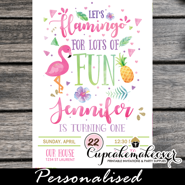 pink flamingo pineapple invitations tropical party ideas