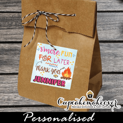 gift labels favor tags backyard camping pink tent camp out girl