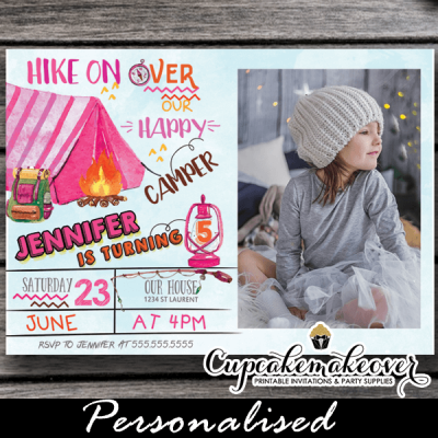 backyard campout camping party invites pink tent camp birthday photo invitations girls