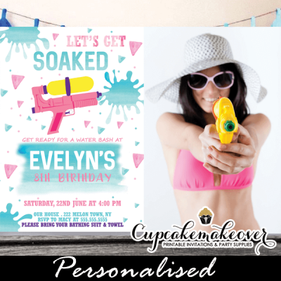 fun girl summer water gun birthday party invitations pink pool