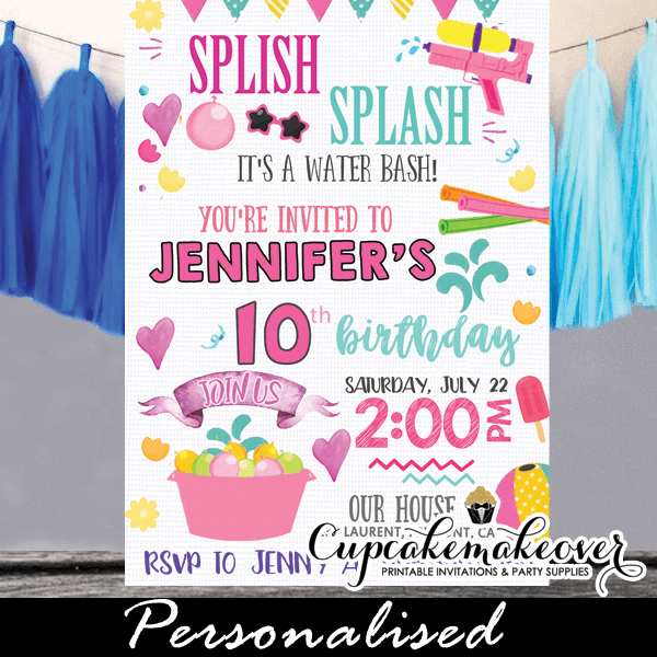 Splish Splash Birthday Invitations Summer Pool Party Water Bash Girls Pink