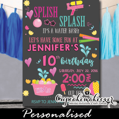 girls pool party splish splash birthday invitations chalkboard summer games