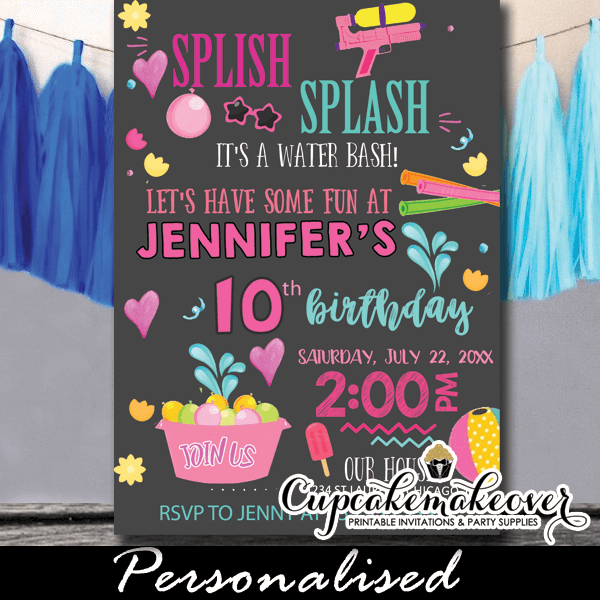 splish splash birthday invitations girls chalkboard pool party