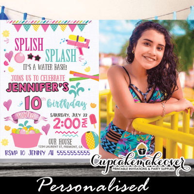 splish splash birthday invitations with photo summer pool party water bash girls pink