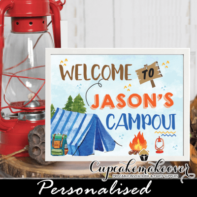 campout party camping birthday sign blue tent boys welcome