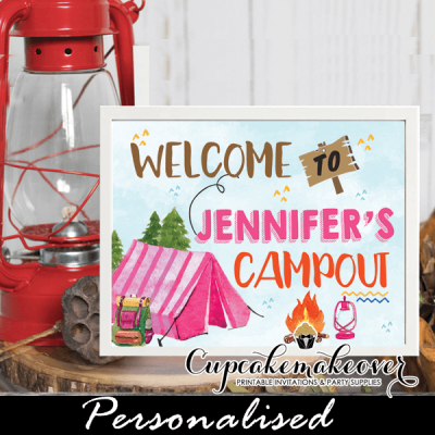 campout party camping birthday sign pink tent girls welcome backyard outdoors