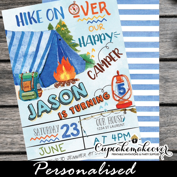 Camping Party Invites Blue Tent Camp Birthday Invitations Boys