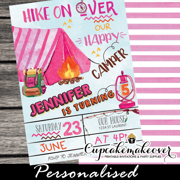 Camping Theme Invitations: Pink Tent Camping Party Invites Girls