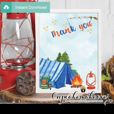 backyard camping thank you cards blue tent boy birthday notes