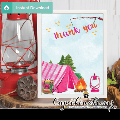 backyard camping thank you cards pink tent birthday notes